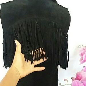 Forever 21 Other - Forever 21  black fringe leather vest M.